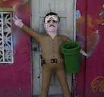 "A piñata of Sinaloa Cartel leader ""El Chapo"""