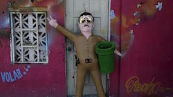 A piñata of Sinaloa Cartel leader