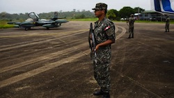 Peru's military on a landing strip