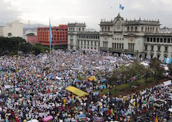 Protestors in Guatemala City