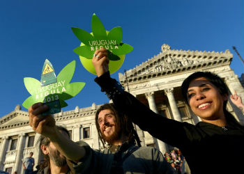 Drug policy reform advocates in Uruguay