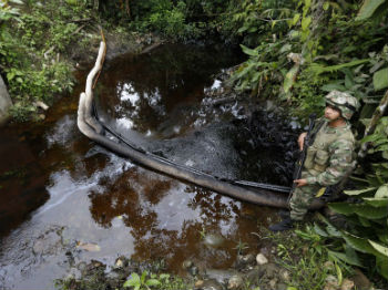 A burst oil pipeline in Colombia