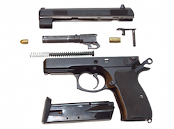 Component parts of a pistol