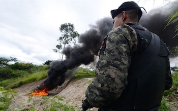 Seized cocaine is incinerated in Honduras