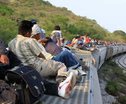 "Central American migrants riding the ""Train of Death"""