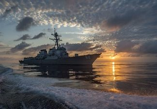 A destroyer patrols the Eastern Pacific as part of Operation Martillo