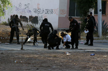 A crime scene in Mexico's Pacific state of Sinaloa