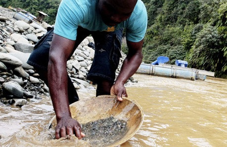 A gold miner at work in Colombia