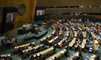 Mexican President Enrique Peña Nieto addresses the UN General Assembly during UNGASS