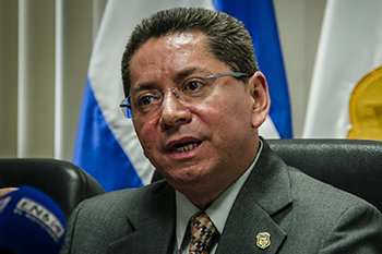 Attorney General Meléndez announcing the charges during a press conference. c/o Salvador Meléndez/Factum