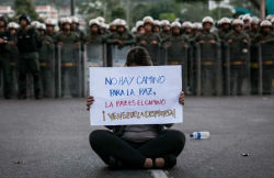 A protester in Venezuela