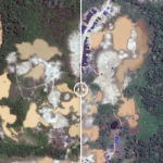 Satellite photos showing environmental damage caused by illegal mining in Peru