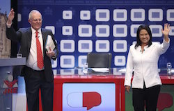 Kuczynski (left) questioned Fujimori's (right) drug links during the debate