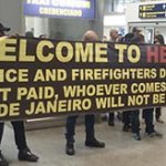 Police protest at Rio's airport. c/o IMGUR