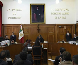 A Mexican courtroom during proceedings