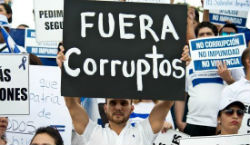 Anti-corruption protesters in El Salvador
