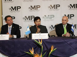 The three attorneys general speak at a press conference about the new cooperation initiative