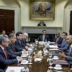 Costa Rican and US delegations at the White House