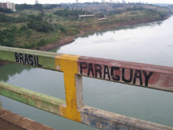 Friendship Bridge border between Paraguay and Brazil