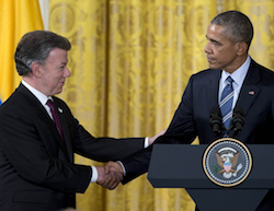Colombian President Juan Manuel Santos and US President Barack Obama