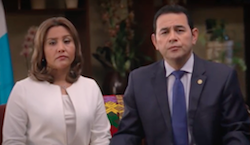 President Morales and his wife discussing the corruption allegations