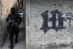 El Salvador police officer on patrol