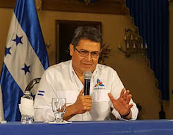 Honduran President Juan Orlando Hernández during a recent public address