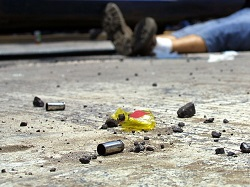 Bullet casings at a crime scene in Mexico.