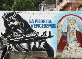 """A mural of the armed colectivo """"La Piedrita"""" en Caracas."""