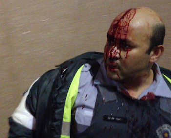 Military police officer injured during a protest in São Paulo