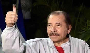 Nicaragua's President Daniel Ortega after casting his vote