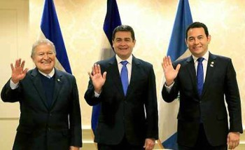The presidents of El Salvador, Honduras and Guatemala, from left to right