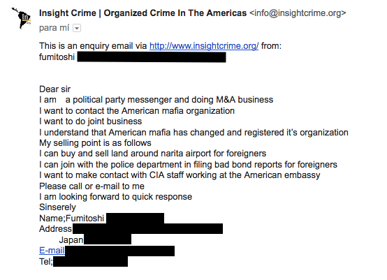 Screen shot of one of the more interesting emails we recieved