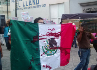 Protester carrying a blood-soaked Mexican flag