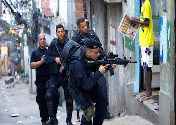 Brazilian police during an operation in Rio de Janeiro