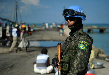 A UN peacekeeper in Haiti