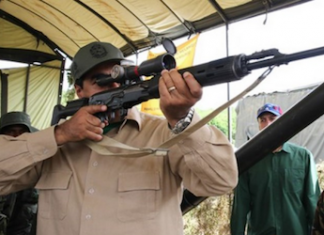 President Nicolás Maduro in a recent military display