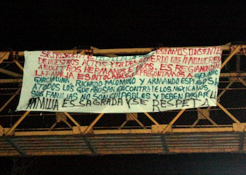 Narco banner on display in Mexico