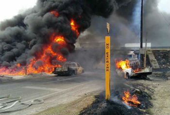 An explosion caused by the illegal tapping of a pipeline in Mexico
