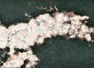 Satellite photos showing deforestation caused by illegal mining in Peru