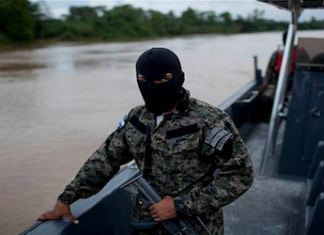 Honduras security forces on patrol near Ahuas