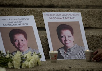 A memorial to Miroslava Breach - one of four journalists killed in Mexico in 2017