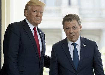 Presidents Donald Trump and Juan Manuel Santos