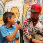 Young rappers at the Casa Morada hip hop project in Colombia