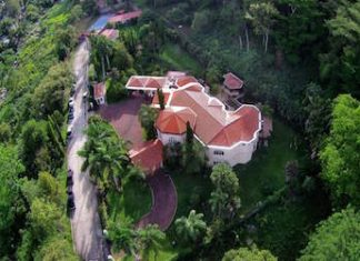 An aerial view of one of the Rosenthal mansions seized by Honduran authorities