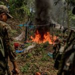 Peru authorities burn an illegal mining site