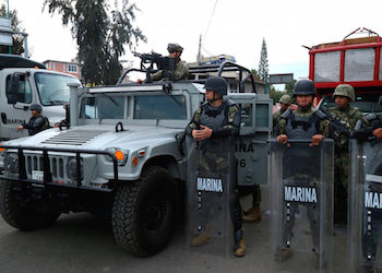Mexico Marines at the scene in Tláhuac