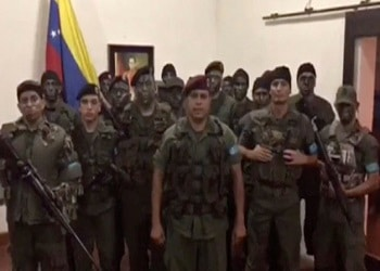 An image from the video of a Bolivarian National Guard captain calling for rebellion