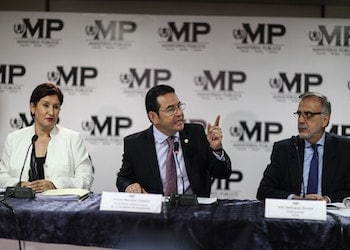 Guatemala President Jimmy Morales at a press conference in June 2016