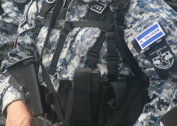 A member of the El Salvador police's FES unit